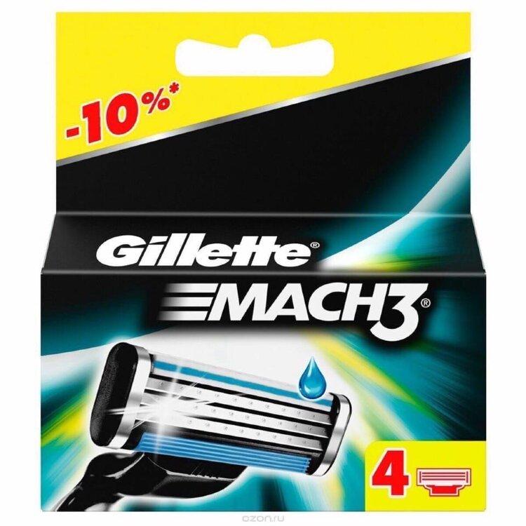Сменные кассеты MACH3  Gillette 4 шт