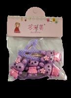 Набор для волос: 2 резинки, 2 заколки Duolaimei Фиолетовые