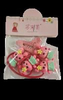 Набор для волос: 2 резинки, 2 заколки Duolaimei Розово-зеленые