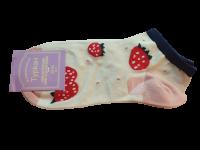 Носки женские с клубникой Туркан белые размер 36-41