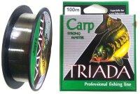 Леска Carp Fishing Line TRIADA 100м, 0,16 мм, тест 4,80 кг, цв. зеленый