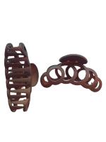 Заколка Краб № 2, 8 см Duolaimei 2 шт цвет коричневый